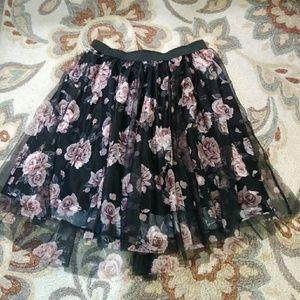 Torrid black And pink floral tulle skirt